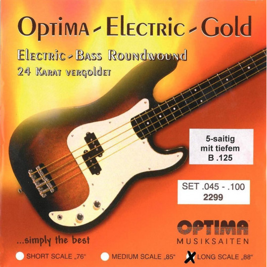 Optima struny pro E-bas Gold Strings Round Wound Sada, light