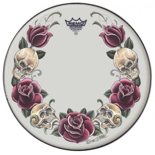 "Remo Tattoo Skyn Powerstroke 3 Bass drum 22"" Tattoo Rock and Roses/black PA-1322-TT-T07"