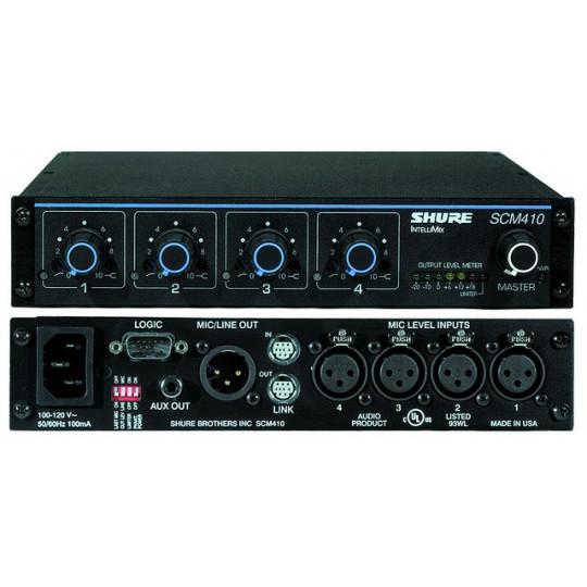 SHURE SCM410E - 4-kanálový automatický mikrof.mix, half rack velikost