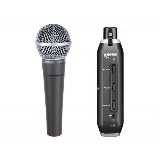 SHURE SM58-X2U - zpěvový mikrofon SM58 + X2U signal adaptér