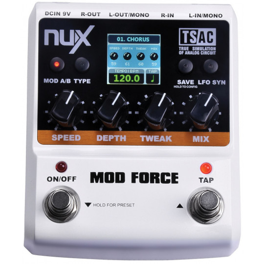 NUX MOD-FORCE - kytarový efekt Force: Chorus, Flanger, Phaser, Tremolo