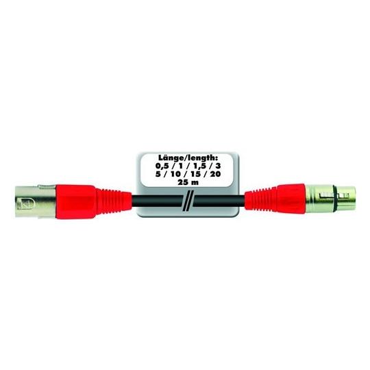 Kabel MC-50R, zástrčka - zásuvka, XLR, symetrický, červený, 5m