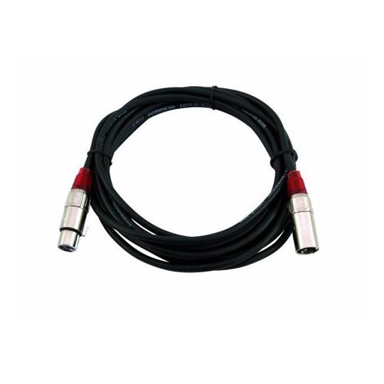 Kabel MC-100R, zástrčka - zásuvka, XLR, symetrický, červený, 10m