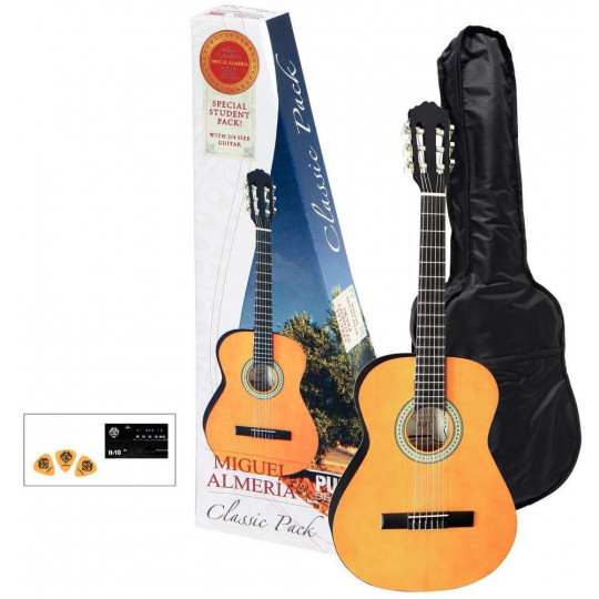 GEWApure Koncertní kytara Almeria Classic Pack 3/4 Kytara tónovaná do medové barvy