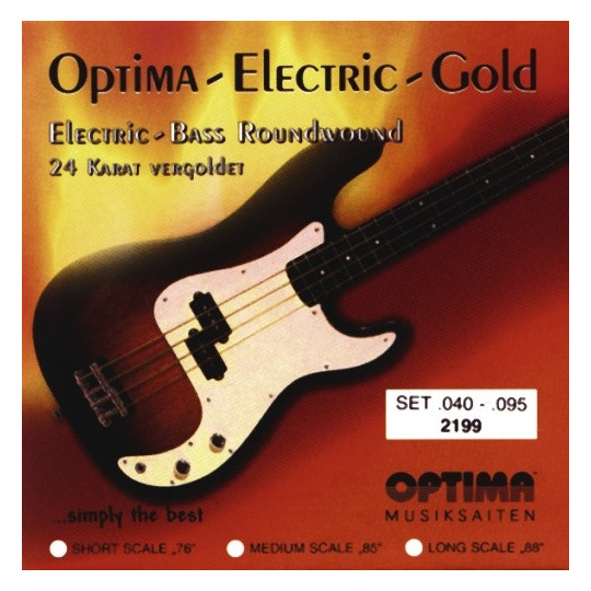 Optima struny pro E-bas Gold Strings Round Wound Sada, 040