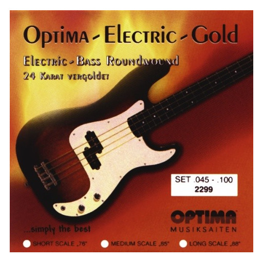Optima struny pro E-bas Gold Strings Round Wound Sada, 045