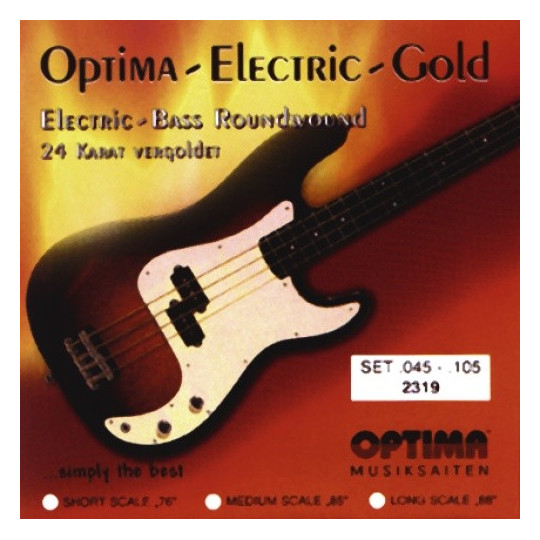 Optima struny pro E-bas Gold Strings Round Wound Sada, medium