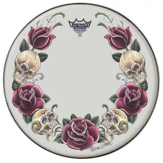 """Remo Tattoo Skyn Suede 14"""" Tattoo Rock and Roses TT-0814-AX-T05"""
