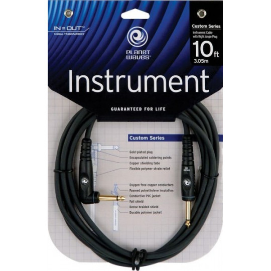 PLANET WAVES PW-GRA-10 mono kabel úhlový jack/jack - 3m