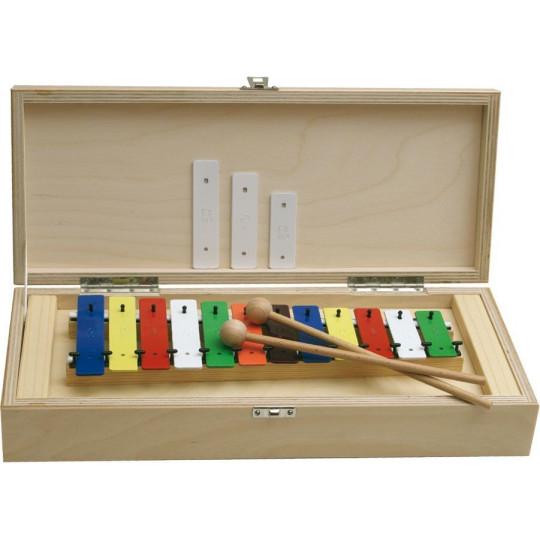 GOLDON - metalofon barevný - 12 kamenů v dřevěném boxu (11035)