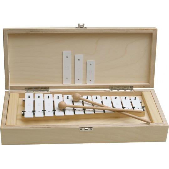 GOLDON - metalofon s bílými kameny - 12 kamenů v dřevěném boxu (11045)