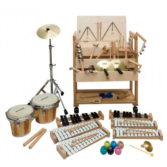 Goldon sada perkusních nástrojů v dřevěném vozíku sortiment 2