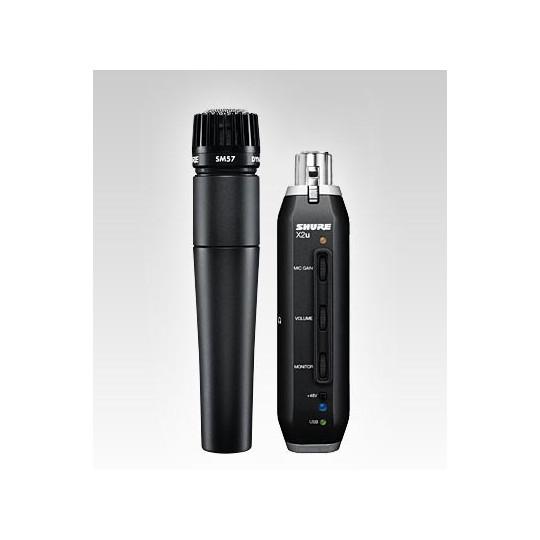 SHURE SM57-X2U - nástrojový mikrofon SM57 + X2U signal adaptér