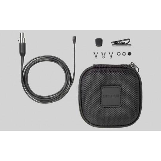 SHURE MX150B/O-XLR - miniaturní klopový mic, kulová ch., mini-XLR s preamp RK100PK, černý