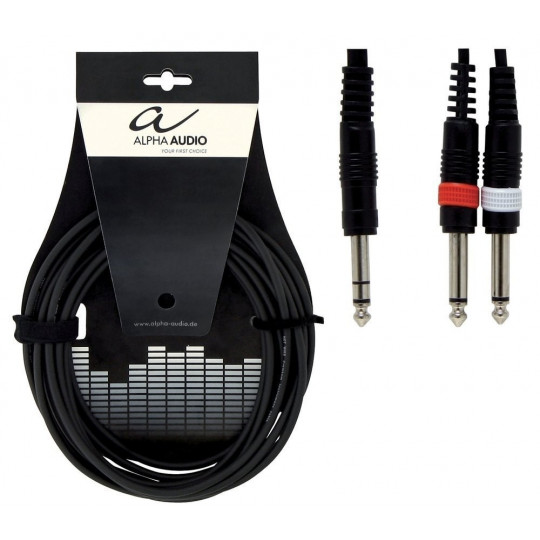 Alpha Audio Basic Y-Cable 1x 6,3 mm Stereo Jack - 2x 6,3 mm Mono Jack 3m