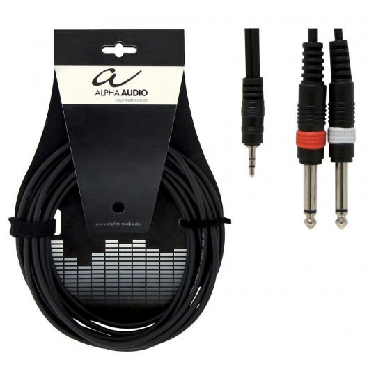 Alpha Audio Basic Y-Cable 1x 3,5 mm Stereo Jack - 2x 6,3 mm Mono Jack 3m