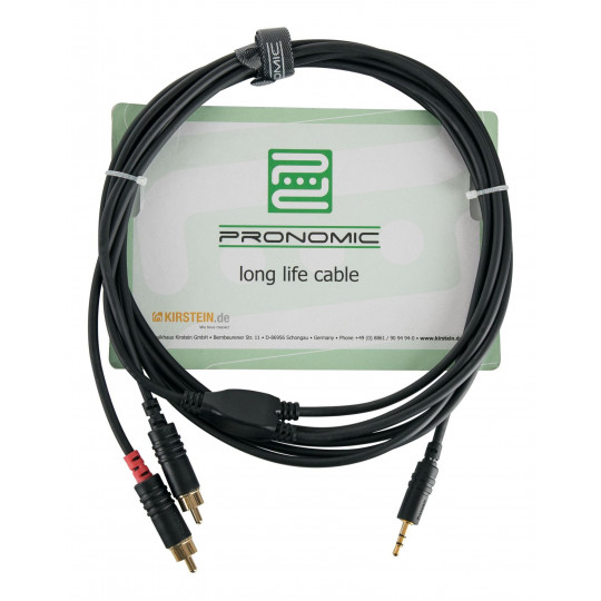 Pronomic J3RC-3m audiokabel 3,5mm stereo jack - cinch 3 m
