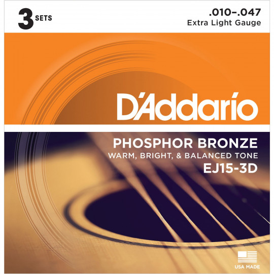 D'Addario EJ15-3D Extra Light Phosphor Bronze Multi-Pack