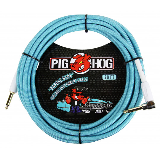 Pig Hog PCH20DBR nástrojový kabel Daphne Blue 6 m