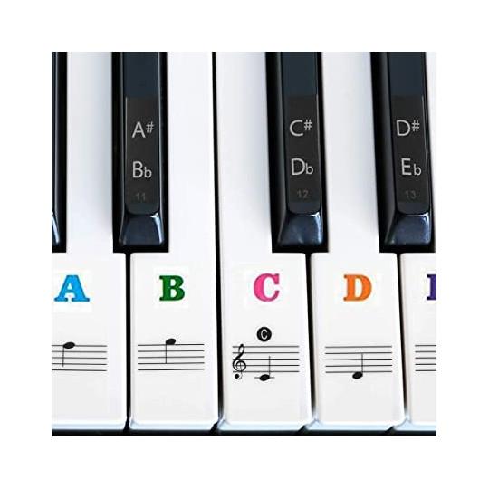 Piano samolepky - noty color transparentní