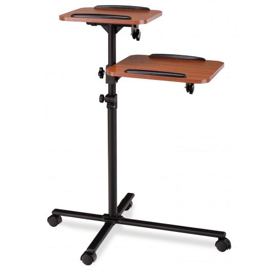Proline vozík pro projektor černý s policemi ve vzhledu dřeva