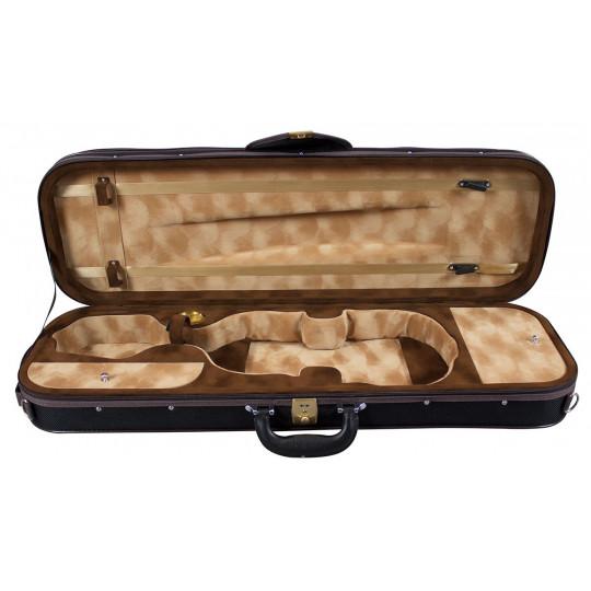 Hidersine DVC3 Case Violin Oblong Black Grid Carbon Fibre Effect 4/4