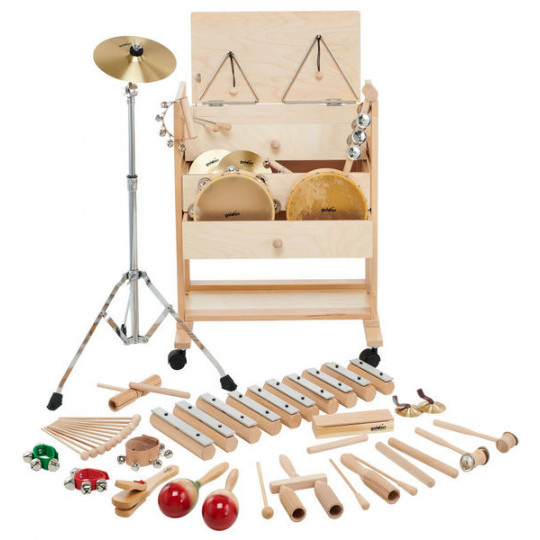 Goldon sada perkusních nástrojů v dřevěném vozíku 2