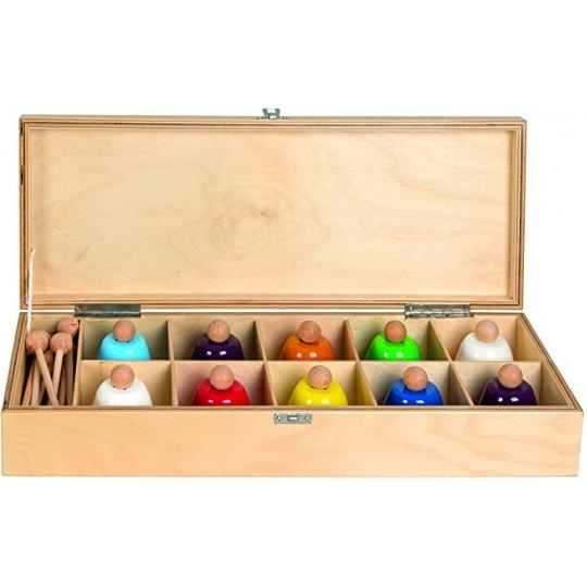 Goldon 10 barevných zvonků v dřevěné krabici